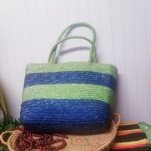 Vintage Striped Straw Green and Blue Tote Bag